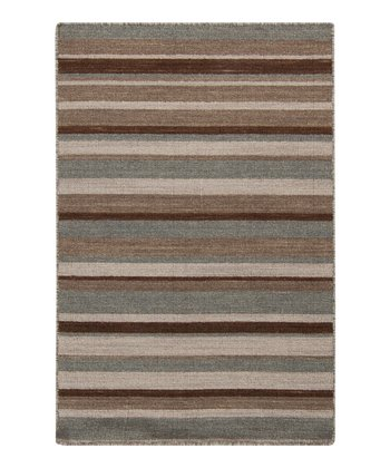 Chocolate & Ivory Stripe Calvin Wool Rug