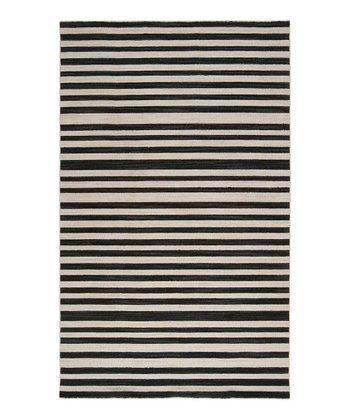 Jet Black & Bone Calvin Wool Rug