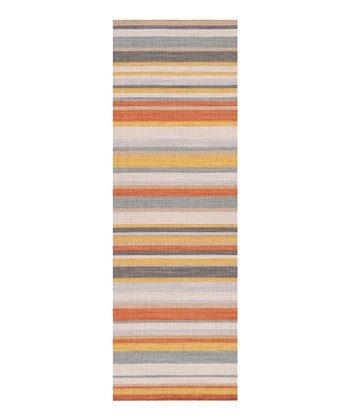 Red Clay & Golden Yellow Stripe Calvin Wool Rug