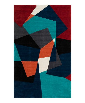 Teal & Navy Color Block Cosmopolitan Rug