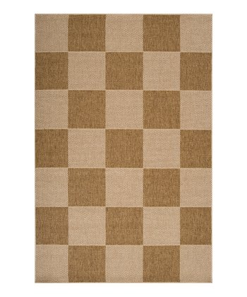 Natural & Cream Checkered Elements Indoor/Outdoor Rug