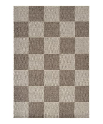 Dark Gray & Light Gray Checkered Elements Indoor/Outdoor Rug