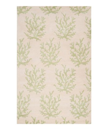 White & Lettuce Leaf Coral Escape Wool Rug