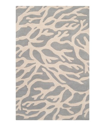 Light Gray & White Coral Escape Wool Rug