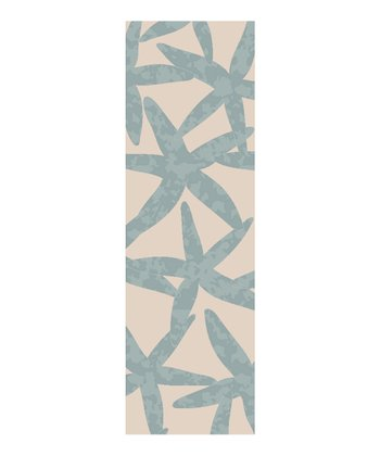 White & Powder Blue Starfish Escape Wool Rug