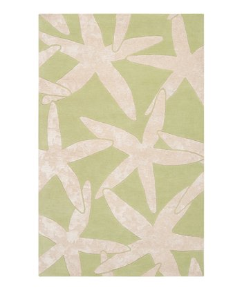 Lettuce Leaf & White Starfish Escape Wool Rug