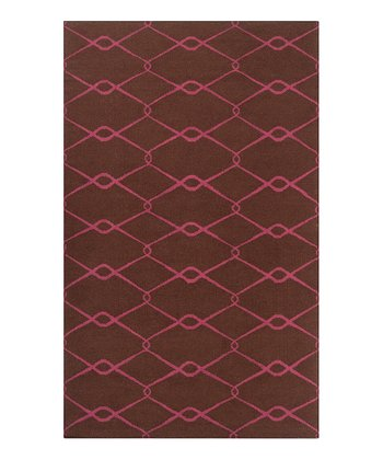 Dark Chocolate & Cerise Fallon Wool Rug