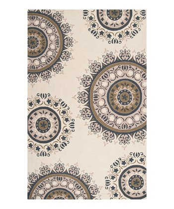 Antique White & Olive Floral Wool Rug
