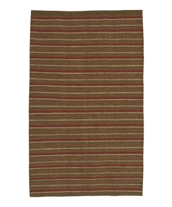 Olive & Brick Red Frontier Wool Rug