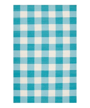 Aqua & White Happy Cottage Wool Rug