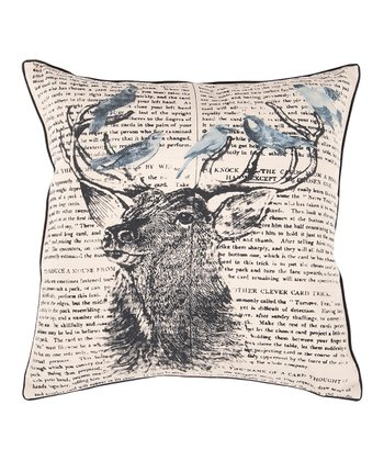 Khaki & Coal Stag Typography Pillow