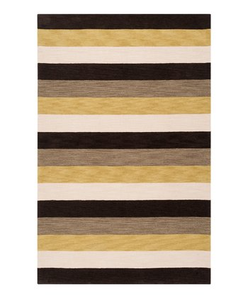 Dark Olive & Brown Stripe Impressions Rug