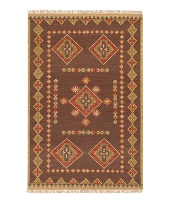 Brown & Coral Jewel Tone II Wool Rug