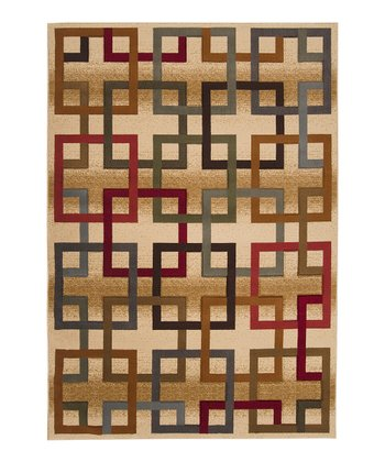 Blonde & Maroon Square Majestic Rug