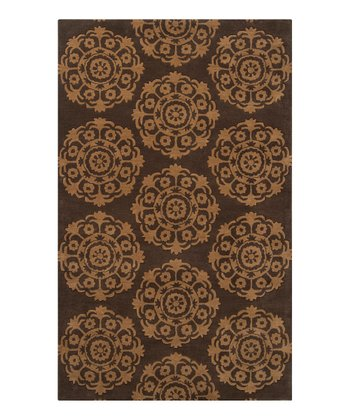 Dark Brown Caramel Oasis Wool Rug