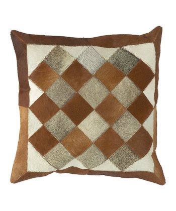 Winter White & Espresso Leather Pillow