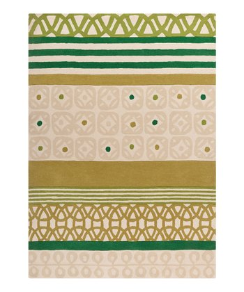 Putty & Sea Green Stripe Scion Wool Rug