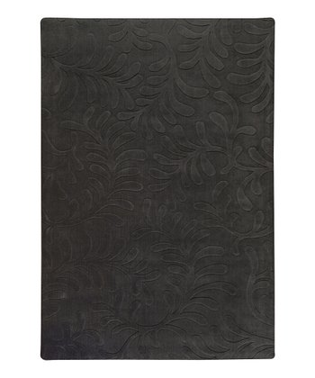 Black Olive Branch Sculpture Wool Rug