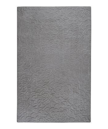 Dove Gray Floral Sculpture Wool Rug