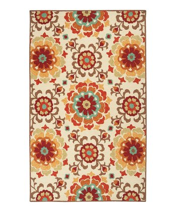 Vanilla & Rust Red Storm Rug
