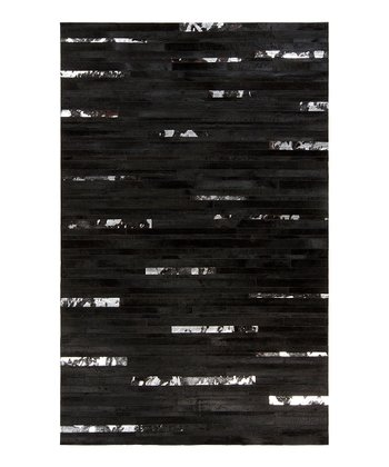 Jet Black & Charcoal Gray Leather Trail Rug