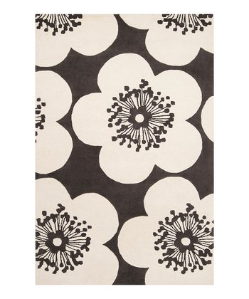 Dark Slate Blue & Winter White Floral Aimee Wilder Rug