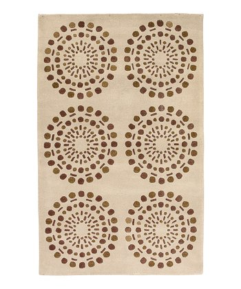 Cream & Brown Bombay Wool Rug