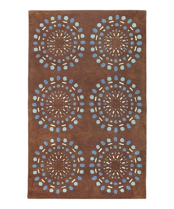 Chocolate & Blue Bombay Wool Rug