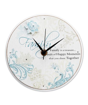Blue 'Family' Standing Round  Clock