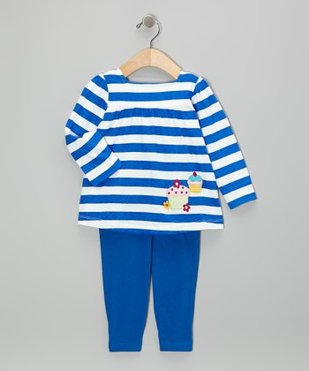 Navy Stripe Cupcakes Tunic & Leggings - Infant & Toddler