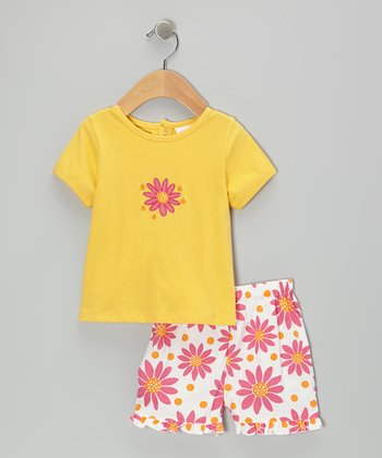 Yellow Flower Tee & Shorts - Infant & Toddler