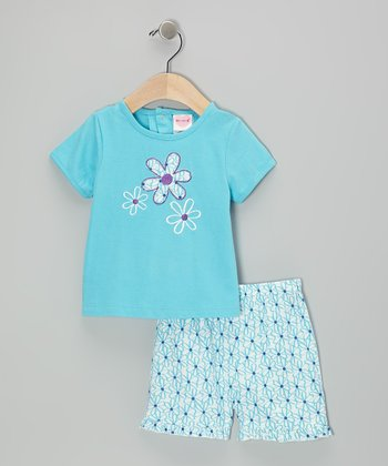Mayfair Blue Flower Tee & Shorts - Infant