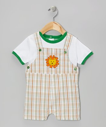 White Tee & Lion Shortalls - Infant