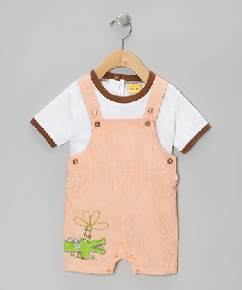 Mayfair White Tee & Crocodile Shortalls - Infant