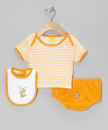 Mayfair Orange Monkey Diaper Cover Set - Infant