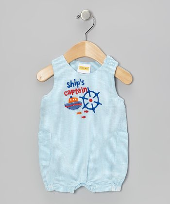 Mayfair Blue Ship Seersucker Romper - Infant