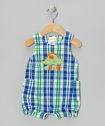 Mayfair Blue Dino Seersucker Romper - Infant