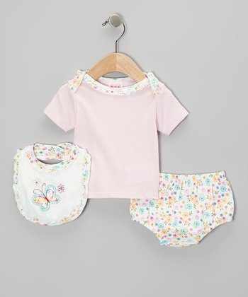 Mayfair Pink Butterfly Diaper Cover Set - Infant