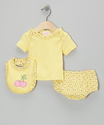 Mayfair Yellow Cherry Diaper Cover Set - Infant
