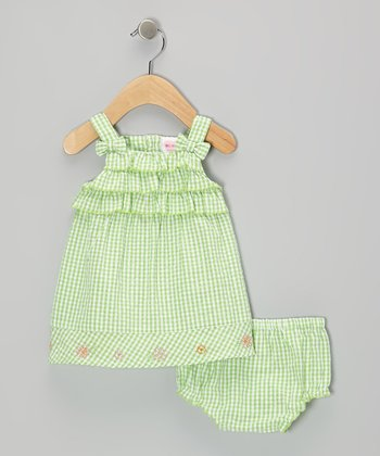 Mayfair Green Ruffle Seersucker Dress & Diaper Cover - Infant