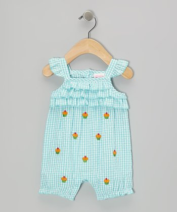 Mayfair Blue Cupcake Seersucker Romper - Infant