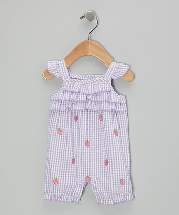 Purple Strawberry Seersucker Romper - Infant