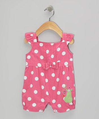 Mayfair Pink Polka Dot Seersucker Romper - Infant