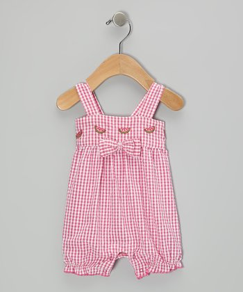 Mayfair Pink Watermelon Seersucker Romper - Infant