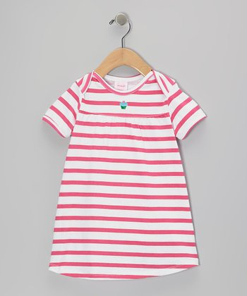 Red Stripe Knit Dress & Diaper Cover - Toddler