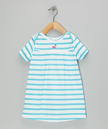 Blue Stripe Knit Dress & Diaper Cover - Toddler