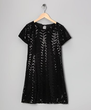 Black Scallop Sequin Dress - Girls