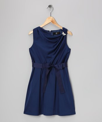 Navy Brooch Alexandria Dress - Girls
