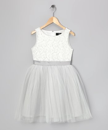White Sequin Paisley Nina Dress - Girls