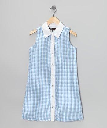 Blue & White Gingham Sarah Dress - Girls
